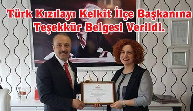 Türk Kızılayı Kelkit İlçe Başkanına Teşekkür Belgesi Verildi