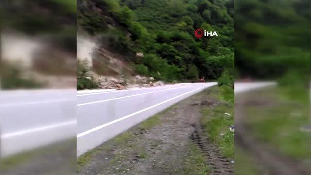 Heyelan riski oluşturan kayalar kontrollü bir şekilde yıkıldı