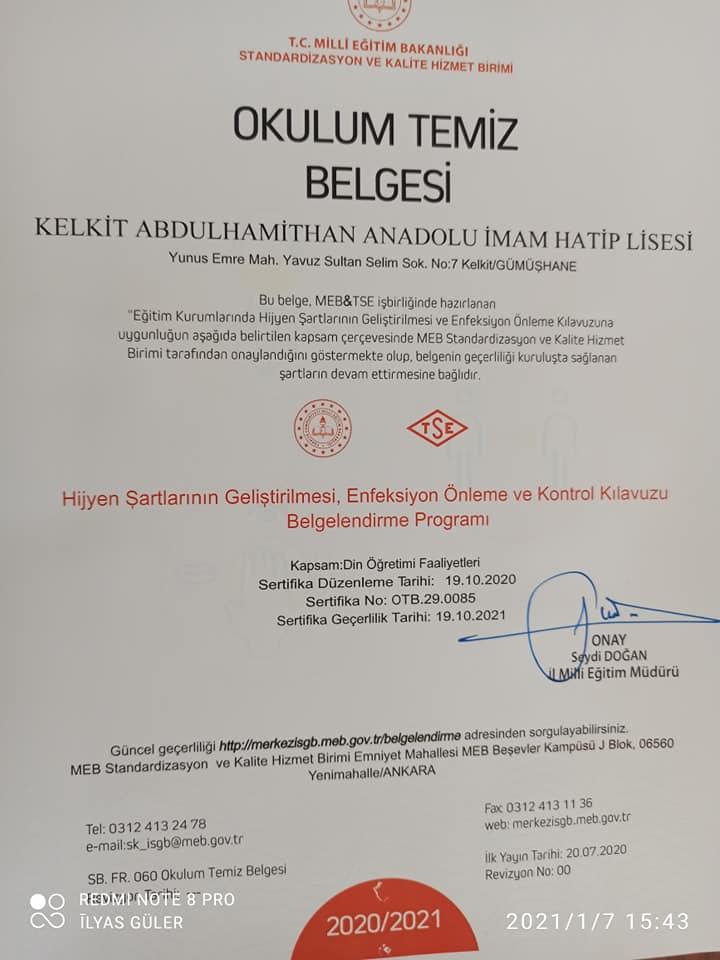 Okullara OKULUM TEMİZ Belgesi Verildi